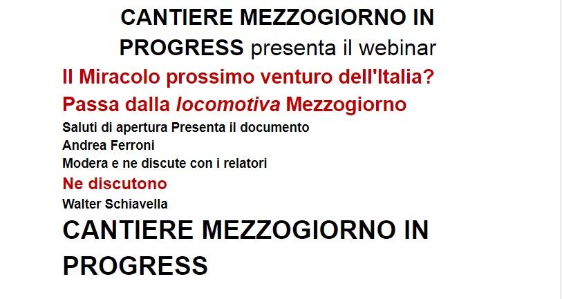 Webinar Il Miracolo prossimo venturo dell'Italia?